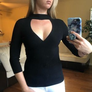 EXPRESS SWEATER - M - BLACK WITH CHOKER FEATURE